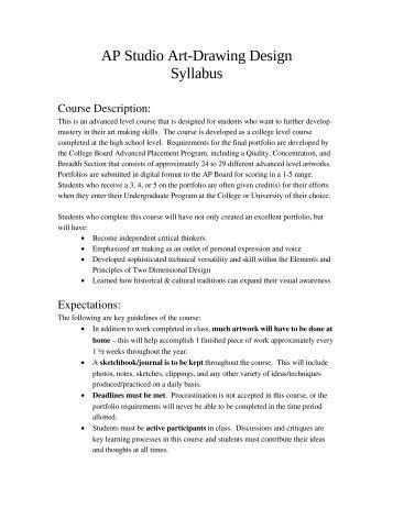 AP Studio Art-Drawing Design Syllabus - Steinbrenner High School