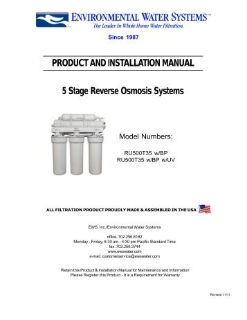 5-Stage Reverse Osmosis for Difficult Well Water - Environmental ...