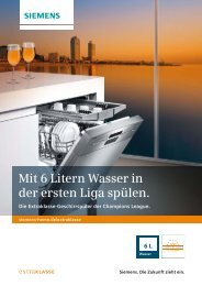 Mit 6 Litern Wasser in der ersten Liga spülen. - Siemens Hausgeräte