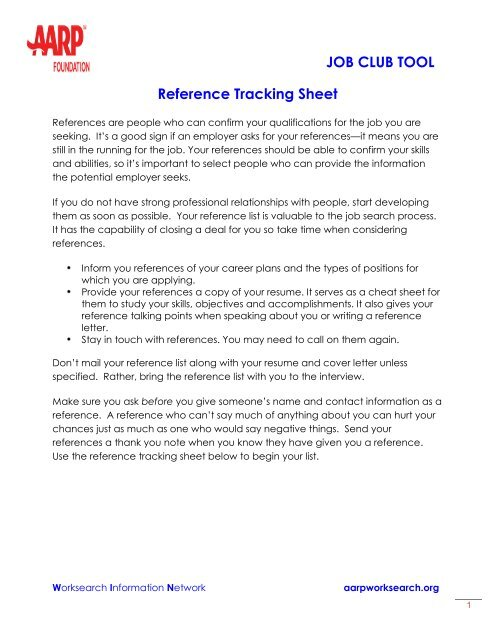 Tracking Sheet: Your references - AARP WorkSearch