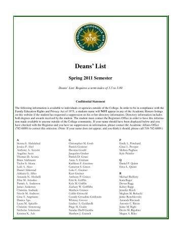 Deans List Spring 2011.pub - Siena College