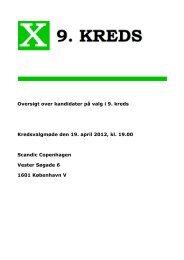 Oversigt over kandidater på valg i 9. kreds Kredsvalgmøde den 19 ...