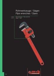 Rohrwerkzeuge / Sägen Pipe wrenches / Saws - Peddinghaus