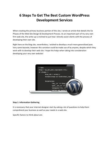 6 Steps To Get The Best Custom WordPress Development Services