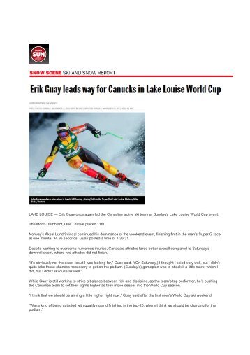 Erik Guay leads way for Canucks in Lake Louise World Cup