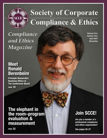 Meet Ronald Berenbeim - Society of Corporate Compliance and Ethics