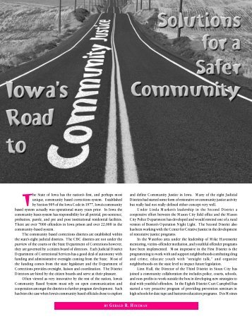 Iowa's Road to Community Justice, Solutions for a ... - Gary Hinzman