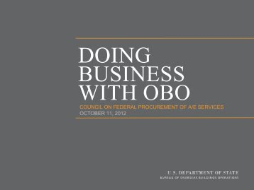 DOING BUSINESS WITH OBO - Cofpaes