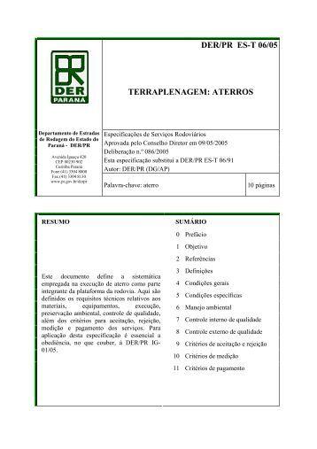 der/pr es-t 06/05 terraplenagem: aterros - DER - Estado do Paraná