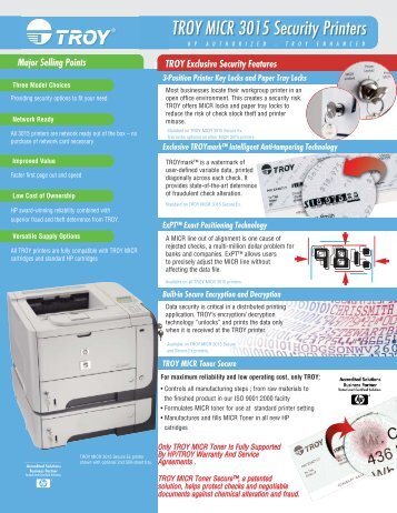 TROY MICR 3015 Security Printers Datasheet - Troy Group, Inc.