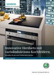 Innovative Herdsets mit varioInduktions ... - Siemens Hausgeräte