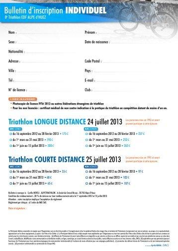 Bulletin d'inscription individuel - Triathlon EDF - Alpe d'Huez