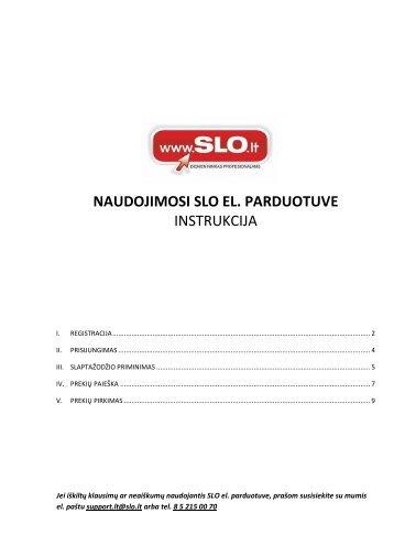 Parsisiųsti el.parduotuvės instrukciją - SLO Lithuania