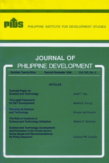 JOURNAL OF - Philippine Institute for Development Studies