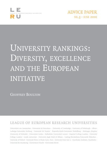 University Rankings: Diversity, Excellence And The European Initiative