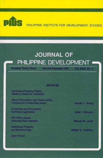 JOURNAL OF PHILIPPINFDEVEI_OPIVlFI - Philippine Institute for ...