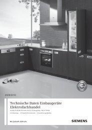 Technische Daten Einbaugeräte ... - Siemens Home Appliances