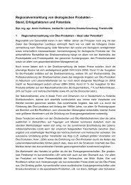 Regionalvermarktung von ökologischen Produkten – Stand ... - IfLS