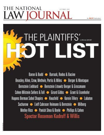 """Hot List"" of Top Plaintiffs - Spector Roseman Kodroff & Willis"