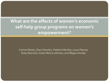 Carinne Brody Campbell Presentation - Women's Self Help Groups