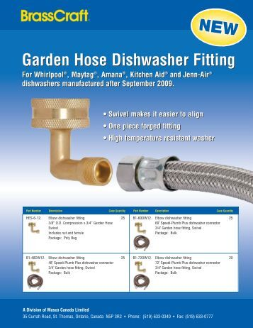 Garden Hose Dishwasher Fitting Garden Hose ... - Masco Canada