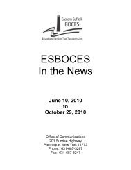 ESBOCES In the News 6/10/2010 - Eastern Suffolk BOCES