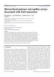 Hierarchical polymer micropillar arrays decorated with ZnO nanowires
