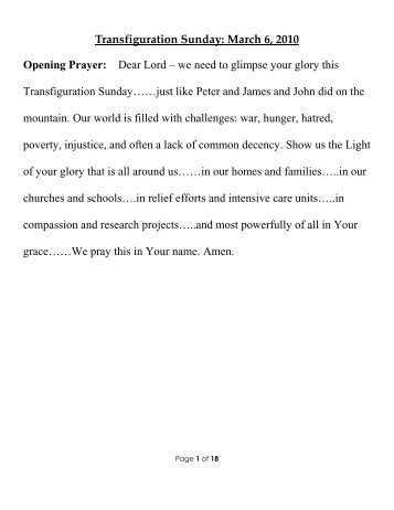 Curt 03-06-11_Transfiguration Sunday ... - Peace Lutheran Church