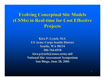 Evolving Conceptual Site Models (CSMs) in Real-time for Cost ...