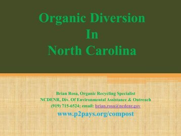 Current Status of Food Diversion in NC - NC Project Green