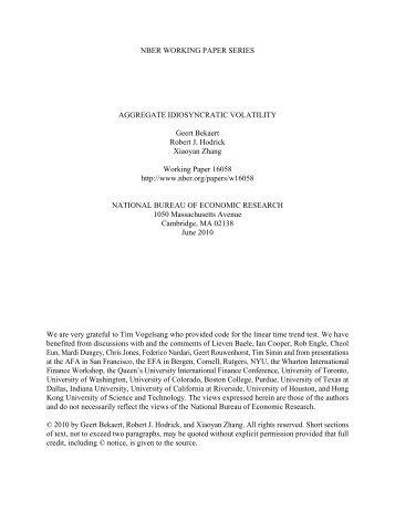 Aggregate Idiosyncratic Volatility - Columbia Business School ...