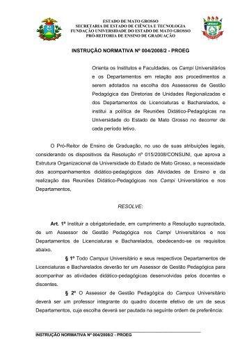 INSTRUÇÃO NORMATIVA Nº 004/2008/2 - PROEG ... - Unemat