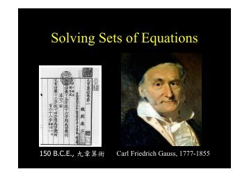 Soving Sets of Equations