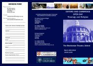 OXFORD AND CAMBRIDGE OPEN DAY Theology and Religion ...
