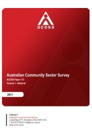 ACOSS Australian Community Sector Survey 2011