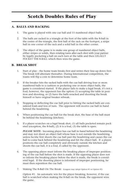 VNEA Scotch Doubles Rules