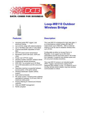Loop-W8110 Outdoor Wireless Bridge - DCB Inc.