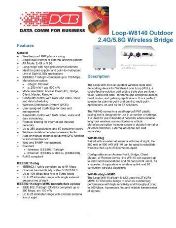 Loop-W8140 Outdoor 2.4G/5.8G Wireless Bridge - DCB Inc.