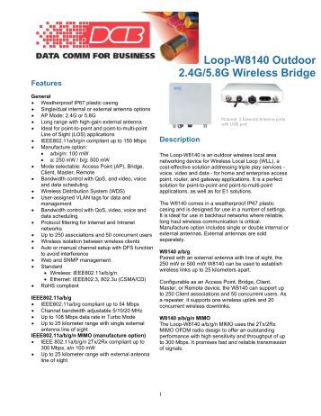 Loop-W8140 Outdoor 2.4G/5.8G Wireless Bridge - DCB Inc.
