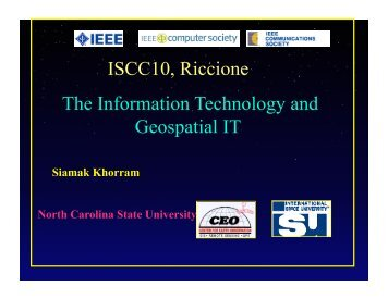 ISCC10, Riccione The Information Technology and Geospatial IT