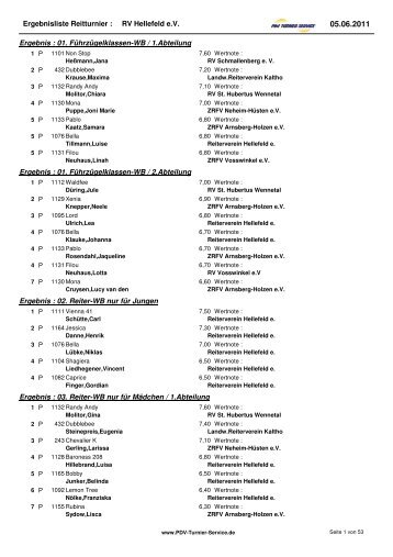 Ergebnisliste Reitturnier :  RV Hellefeld e.V. ... - PDV  Turnier Service