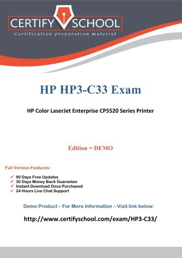 HP3-C33 CertifySchool Exam Actual Questions (PDF)