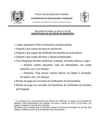 Requisitos para solicitud de Certificado de estudios y Examen de ...