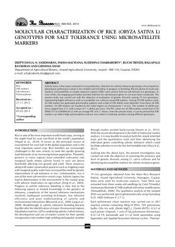 Molecular characterization of rice (Oryza sativa L.) - THE BIOSCAN