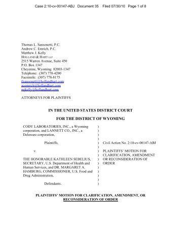 Plaintiff's motion for clarification of previous order ... | 357 x 462 jpeg 18kB