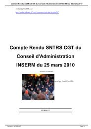 Compte Rendu SNTRS CGT du Conseil d'Administration ... - CNRS