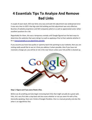 4 Essentials Tips To Analyze And Remove Bad Links