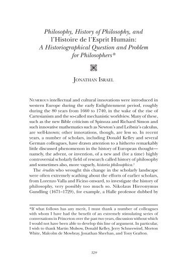 A Historiographical Question and Problem for Philosoph