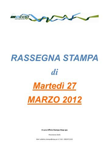 Rassegna stampa di martedì 27 marzo 2012 - Atap