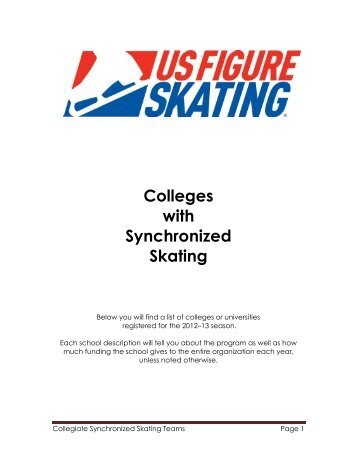 Colleges with Synchronized Skating Programs - US Figure Skating